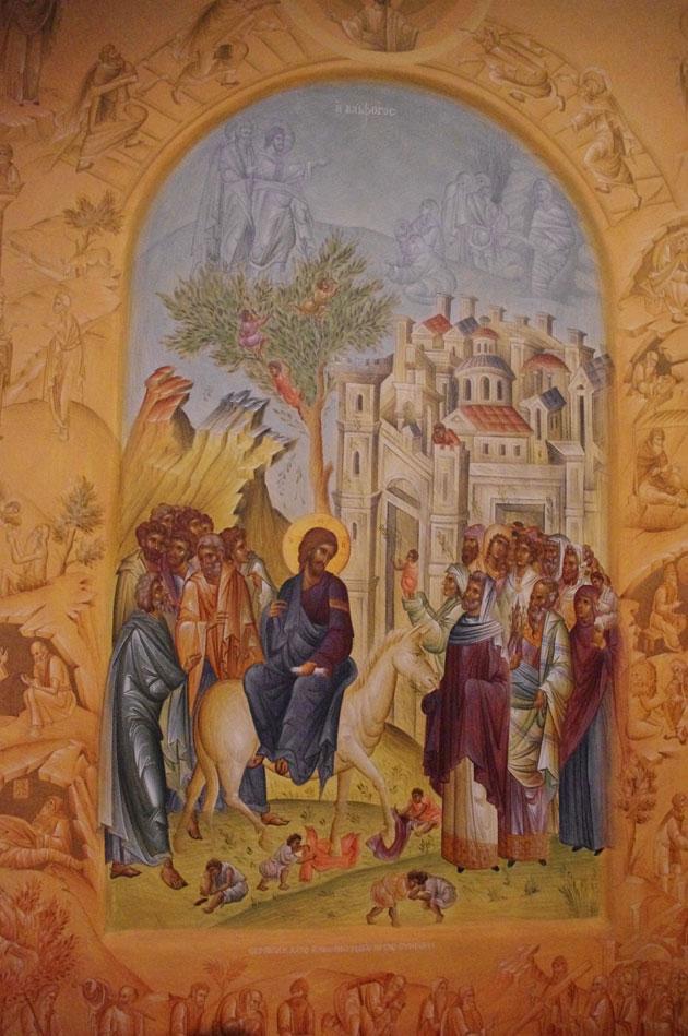 Η Βαϊοφόρος, Έργο του π. Λουκά από τον αγιογραφικό οίκο της Ι. Μ. Ξενοφώντος Αγίου Όρους